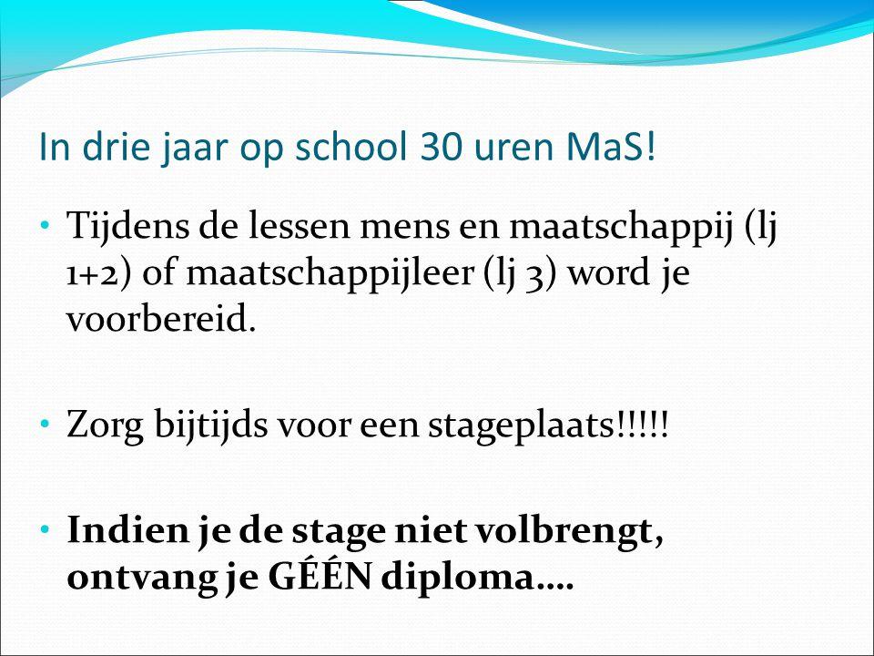 In drie jaar op school 30 uren MaS.