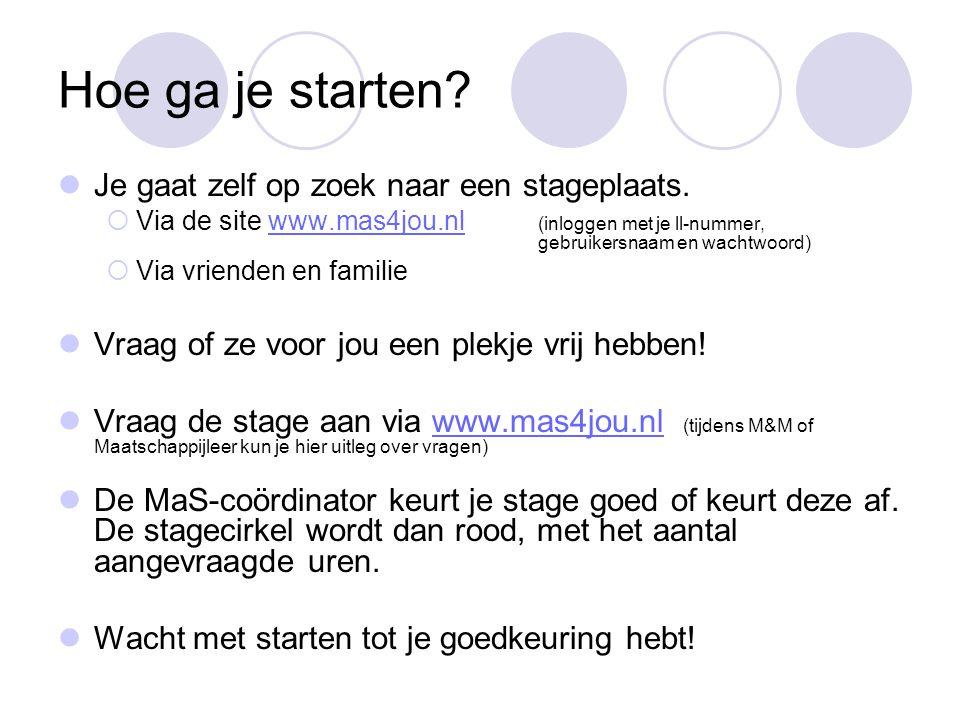 Hoe ga je starten? Je gaat zelf op zoek naar een stageplaats.  Via de site www.mas4jou.nl (inloggen met je ll-nummer, gebruikersnaam en wachtwoord)ww