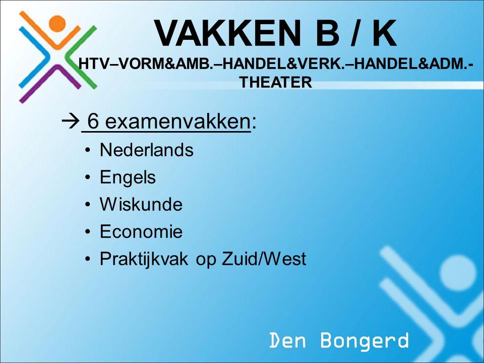 VAKKEN B / K HTV–VORM&AMB.–HANDEL&VERK.–HANDEL&ADM.- THEATER  6 examenvakken: Nederlands Engels Wiskunde Economie Praktijkvak op Zuid/West