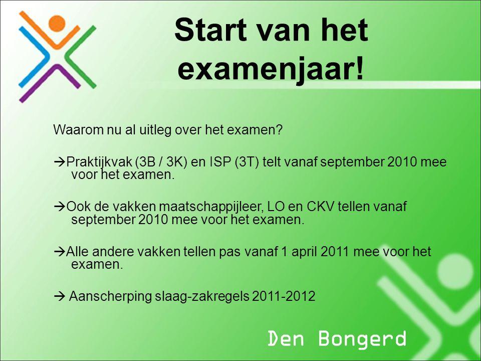 Start van het examenjaar! Waarom nu al uitleg over het examen?  Praktijkvak (3B / 3K) en ISP (3T) telt vanaf september 2010 mee voor het examen.  Oo