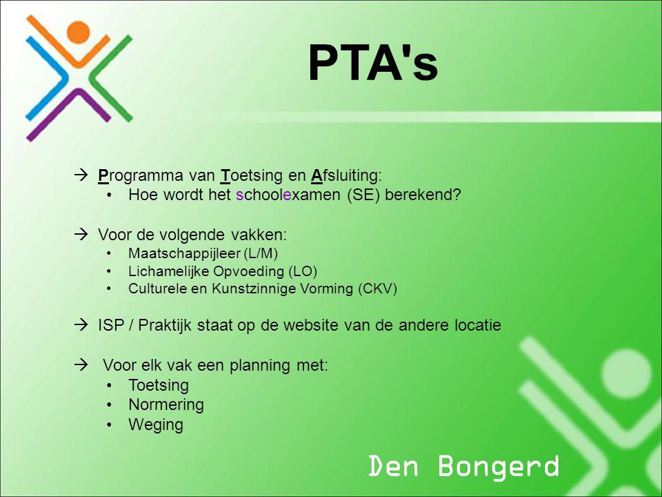 PTA's  Programma van Toetsing en Afsluiting: Hoe wordt het schoolexamen (SE) berekend?  Voor de volgende vakken: Maatschappijleer (L/M) Lichamelijke
