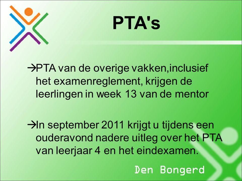 PTA's  PTA van de overige vakken,inclusief het examenreglement, krijgen de leerlingen in week 13 van de mentor  In september 2011 krijgt u tijdens e