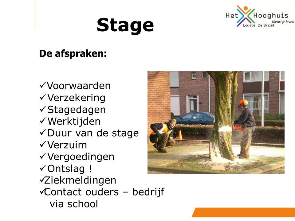 De afspraken: Voorwaarden Verzekering Stagedagen Werktijden Duur van de stage Verzuim Vergoedingen Ontslag ! Ziekmeldingen Contact ouders – bedrijf vi