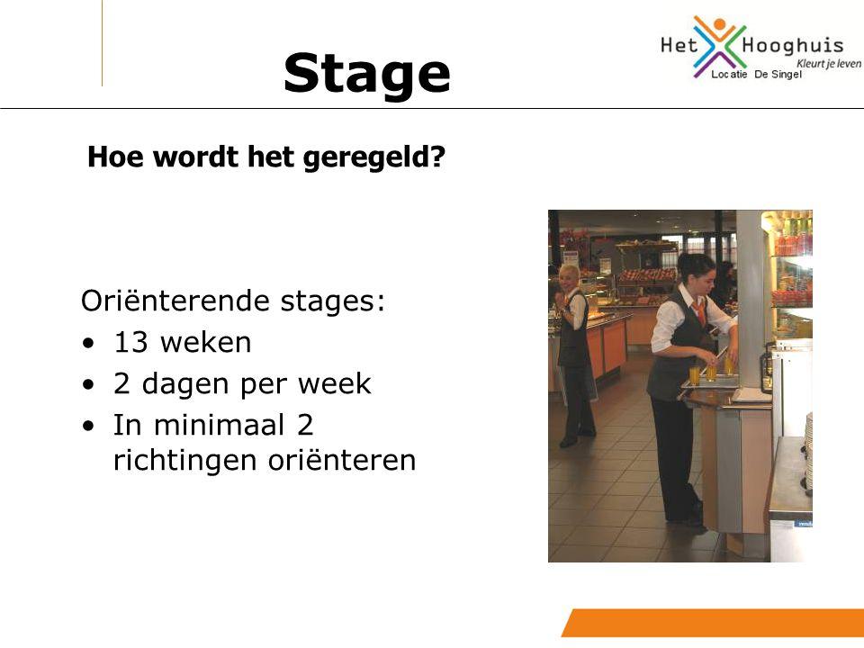 Hoe wordt het geregeld? Oriënterende stages: 13 weken 2 dagen per week In minimaal 2 richtingen oriënteren Stage