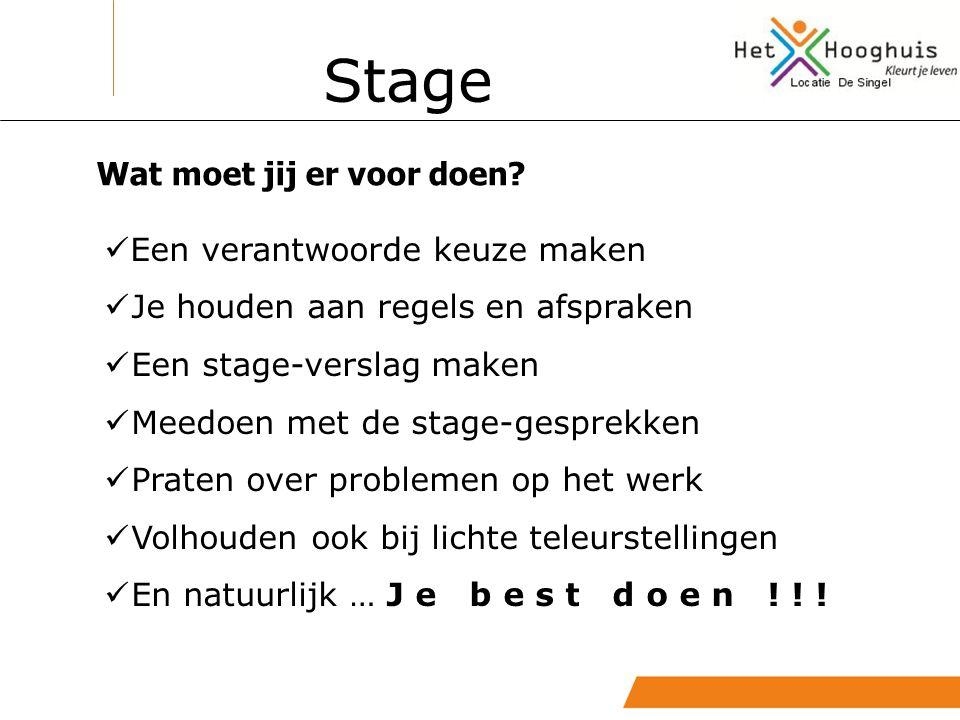 Een verantwoorde keuze maken Je houden aan regels en afspraken Een stage-verslag maken Meedoen met de stage-gesprekken Praten over problemen op het we