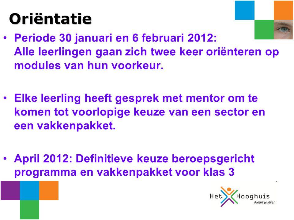 Oriëntatie Periode 30 januari en 6 februari 2012: Alle leerlingen gaan zich twee keer oriënteren op modules van hun voorkeur.
