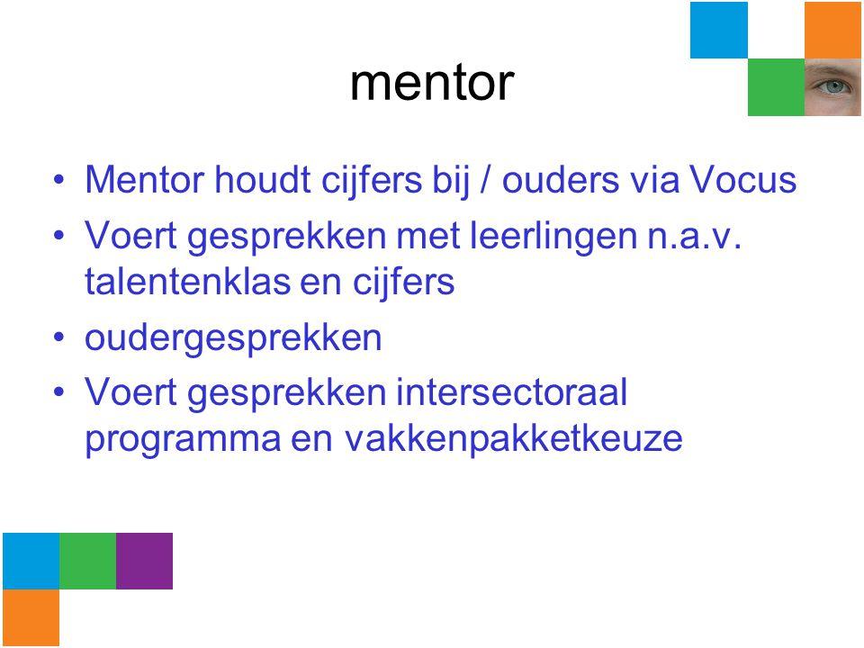 mentor Mentor houdt cijfers bij / ouders via Vocus Voert gesprekken met leerlingen n.a.v. talentenklas en cijfers oudergesprekken Voert gesprekken int