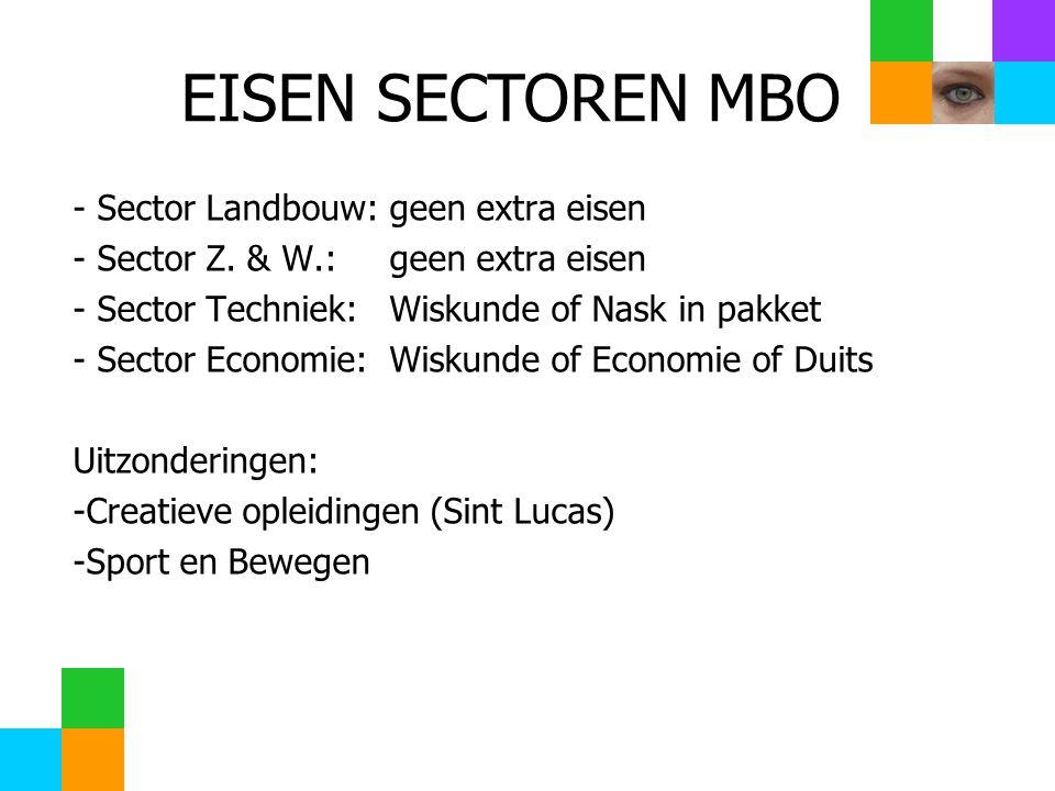- Sector Landbouw:geen extra eisen - Sector Z. & W.:geen extra eisen - Sector Techniek:Wiskunde of Nask in pakket - Sector Economie:Wiskunde of Econom