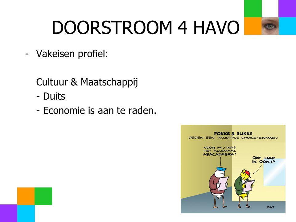DOORSTROOM 4 HAVO -Vakeisen profiel: Cultuur & Maatschappij - Duits - Economie is aan te raden.