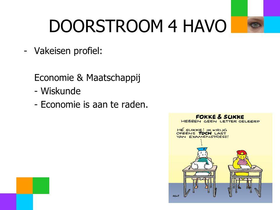 DOORSTROOM 4 HAVO -Vakeisen profiel: Economie & Maatschappij - Wiskunde - Economie is aan te raden.