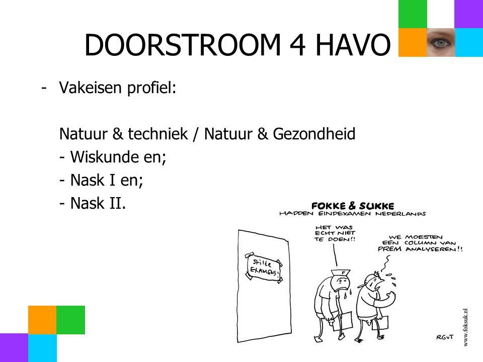 DOORSTROOM 4 HAVO -Vakeisen profiel: Natuur & techniek / Natuur & Gezondheid - Wiskunde en; - Nask I en; - Nask II.