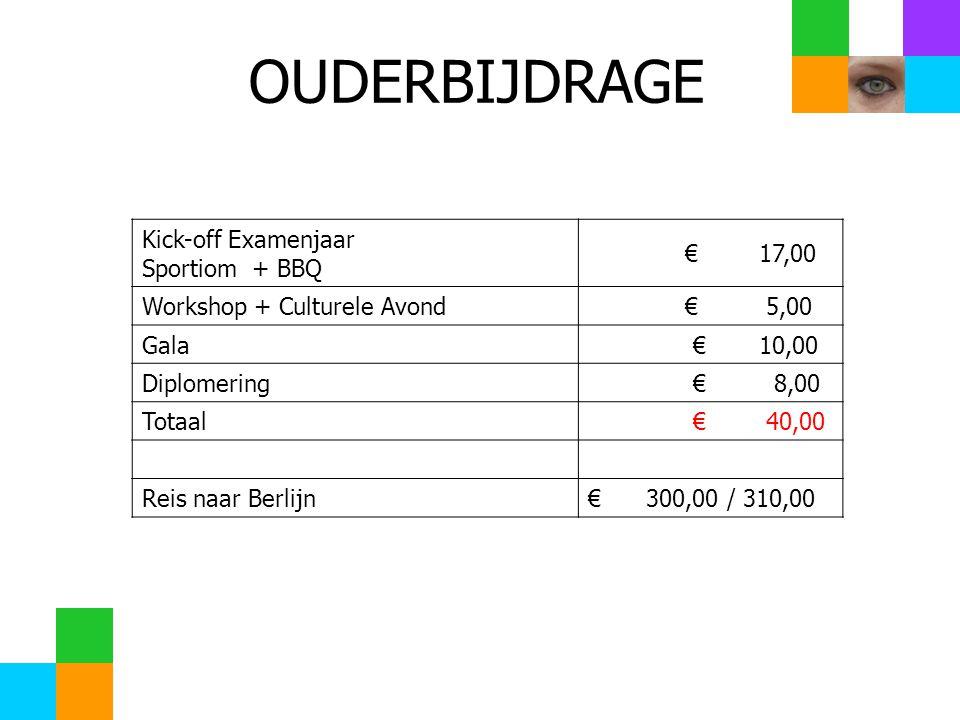 Kick-off Examenjaar Sportiom + BBQ € 17,00 Workshop + Culturele Avond € 5,00 Gala € 10,00 Diplomering € 8,00 Totaal € 40,00 Reis naar Berlijn€ 300,00