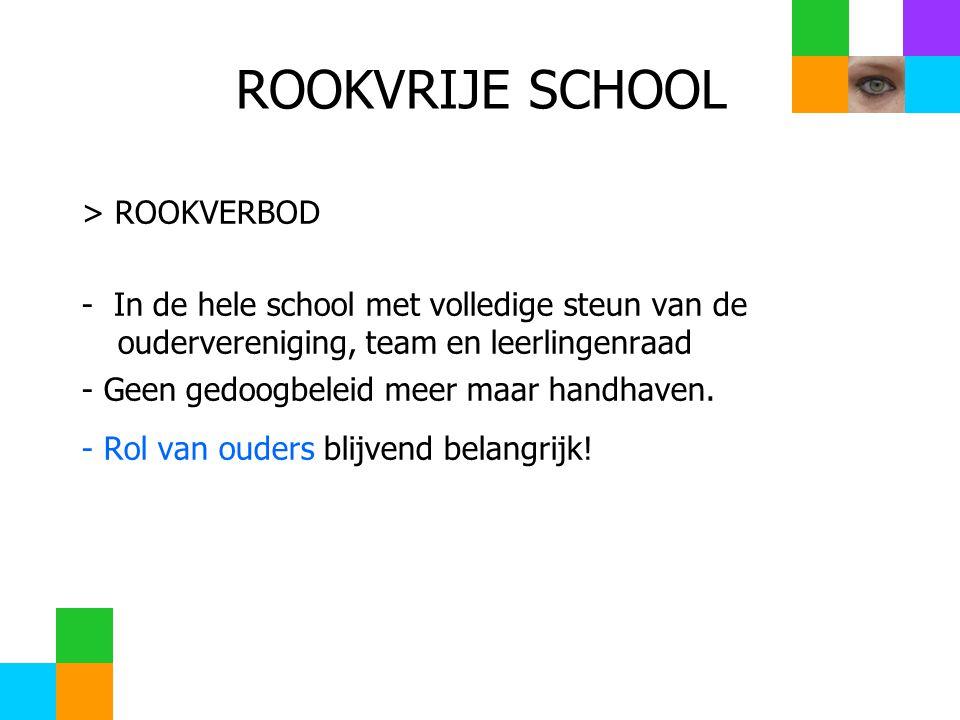 ROOKVRIJE SCHOOL > ROOKVERBOD - In de hele school met volledige steun van de oudervereniging, team en leerlingenraad - Geen gedoogbeleid meer maar handhaven.