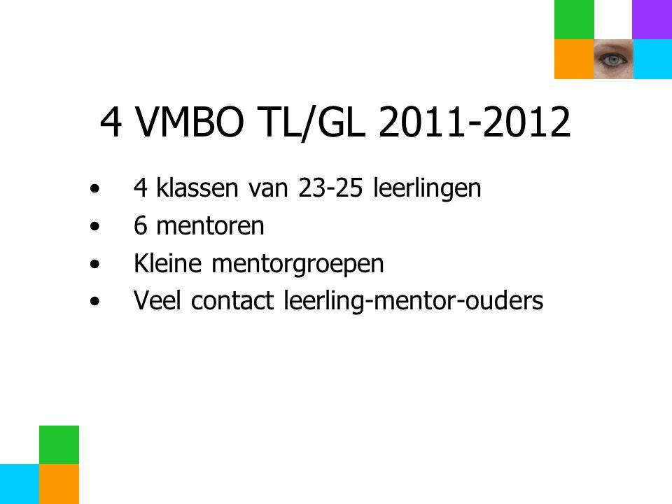 4 VMBO TL/GL 2011-2012 4 klassen van 23-25 leerlingen 6 mentoren Kleine mentorgroepen Veel contact leerling-mentor-ouders