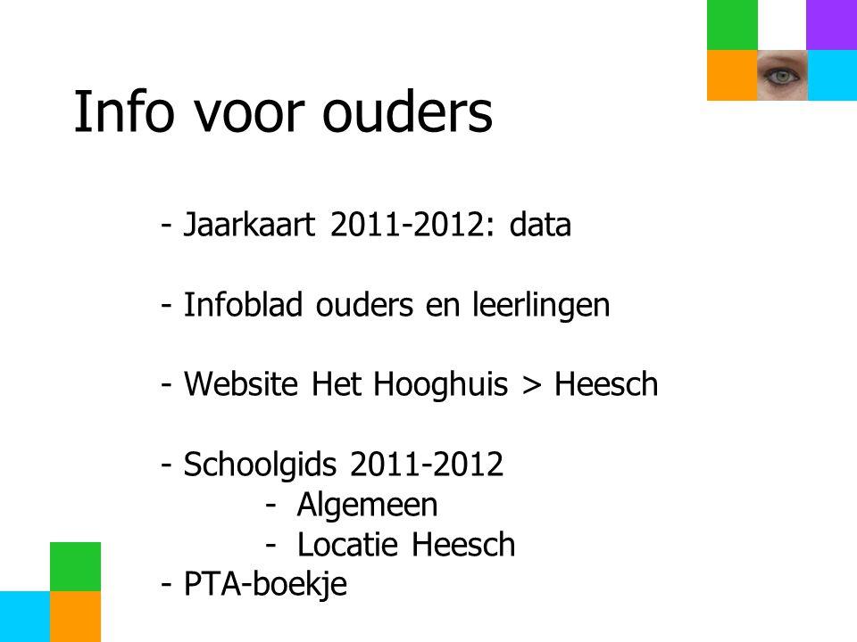 Info voor ouders - Jaarkaart 2011-2012: data - Infoblad ouders en leerlingen - Website Het Hooghuis > Heesch - Schoolgids 2011-2012 - Algemeen - Locatie Heesch - PTA-boekje
