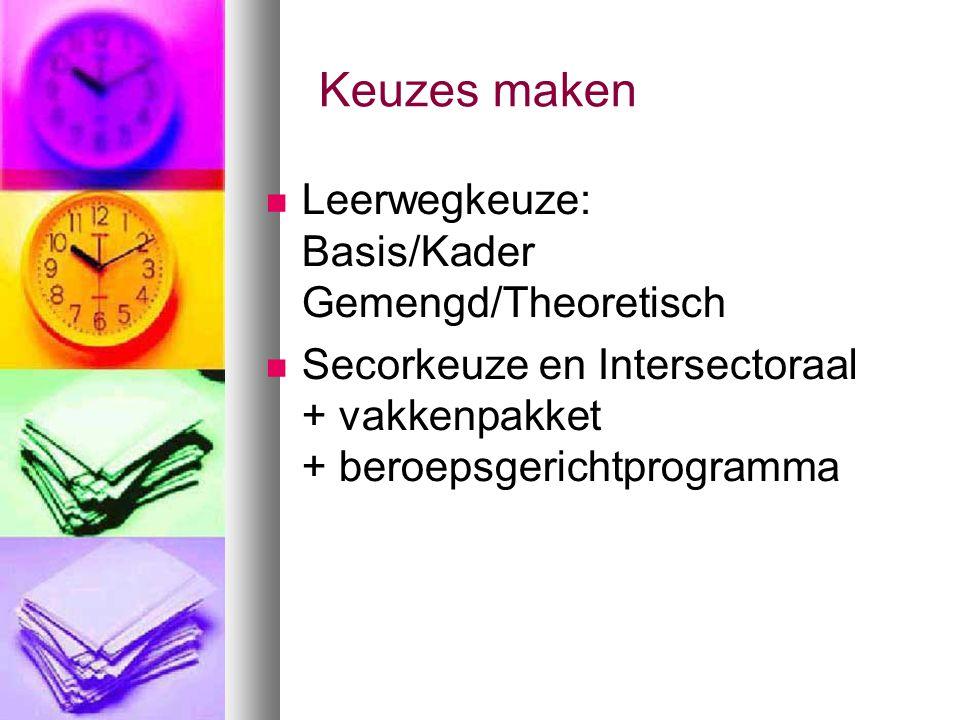 Keuzes maken Leerwegkeuze: Basis/Kader Gemengd/Theoretisch Secorkeuze en Intersectoraal + vakkenpakket + beroepsgerichtprogramma