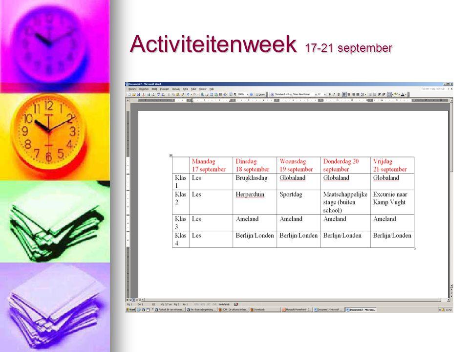 Activiteitenweek 17-21 september