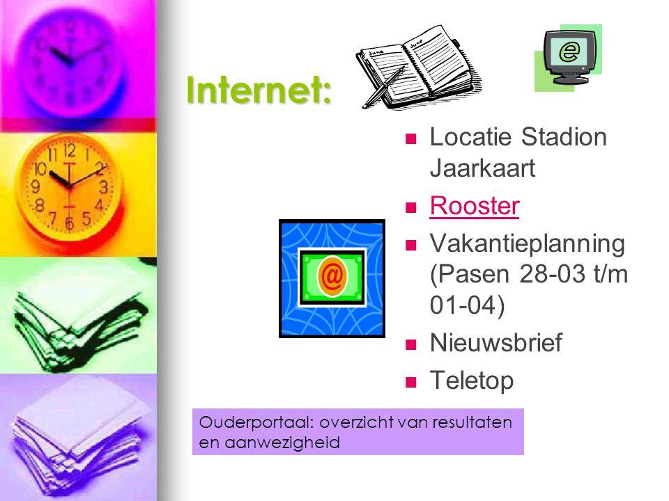 Internet: Locatie Stadion Jaarkaart Rooster Vakantieplanning (Pasen 28-03 t/m 01-04) Nieuwsbrief Teletop Ouderportaal: overzicht van resultaten en aanwezigheid