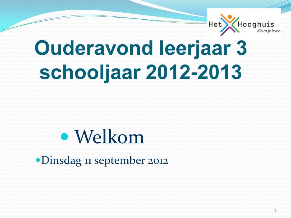 Ouderavond leerjaar 3 schooljaar 2012-2013 1 Welkom Dinsdag 11 september 2012