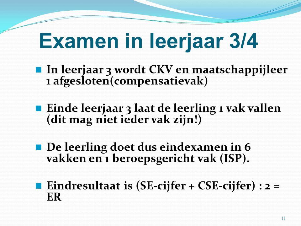 Examen in leerjaar 3/4 In leerjaar 3 wordt CKV en maatschappijleer 1 afgesloten(compensatievak) Einde leerjaar 3 laat de leerling 1 vak vallen (dit ma