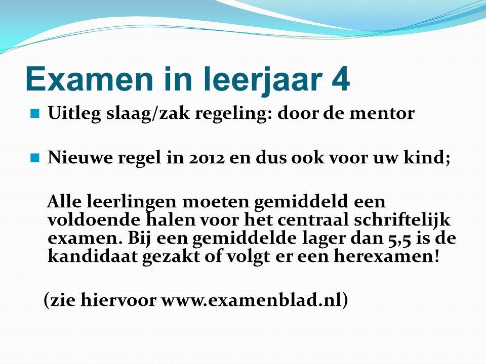 Examen in leerjaar 4 Uitleg slaag/zak regeling: door de mentor Nieuwe regel in 2012 en dus ook voor uw kind; Alle leerlingen moeten gemiddeld een vold