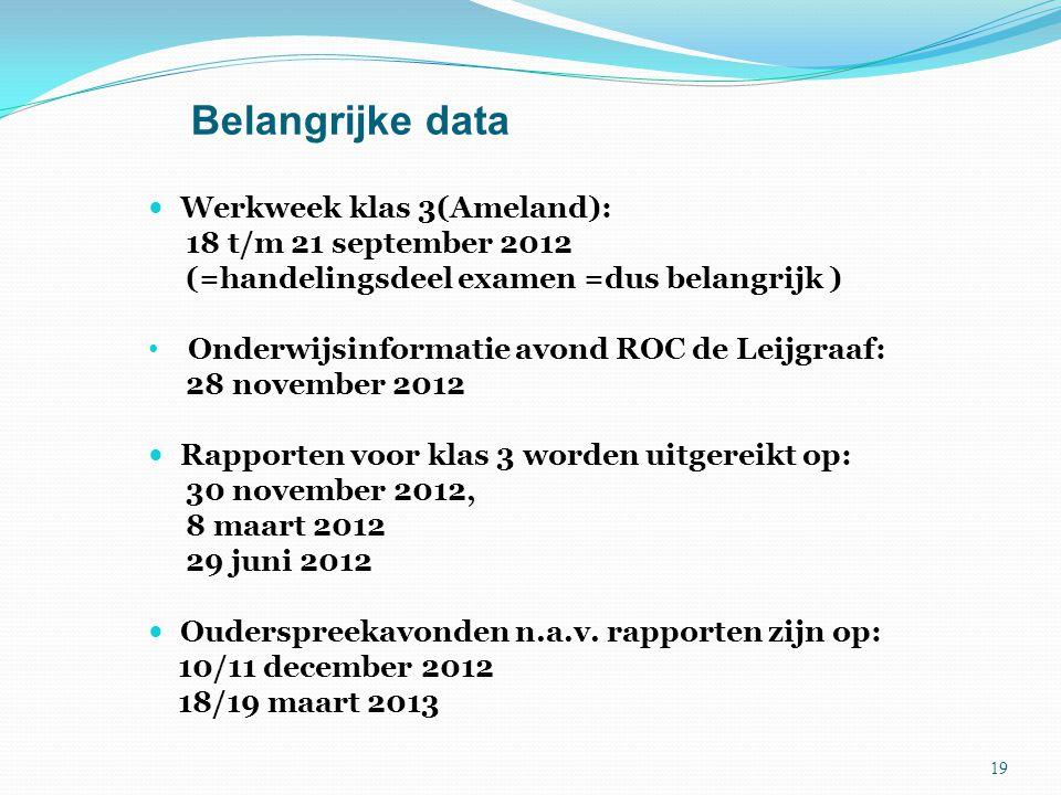 Belangrijke data Werkweek klas 3(Ameland): 18 t/m 21 september 2012 (=handelingsdeel examen =dus belangrijk ) Onderwijsinformatie avond ROC de Leijgra