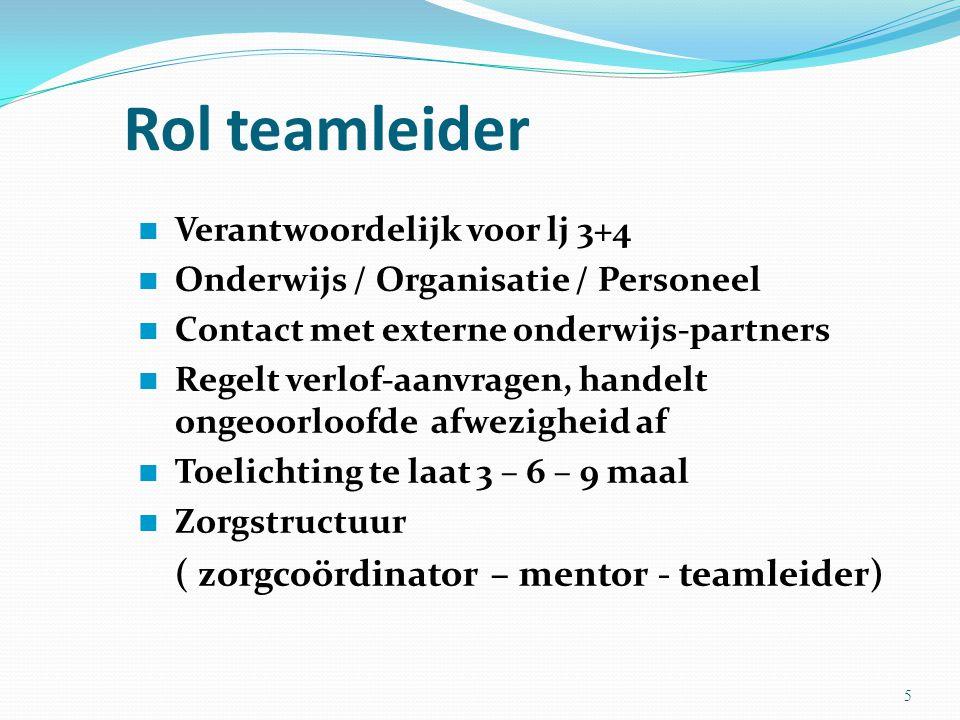 Rol teamleider Verantwoordelijk voor lj 3+4 Onderwijs / Organisatie / Personeel Contact met externe onderwijs-partners Regelt verlof-aanvragen, handel