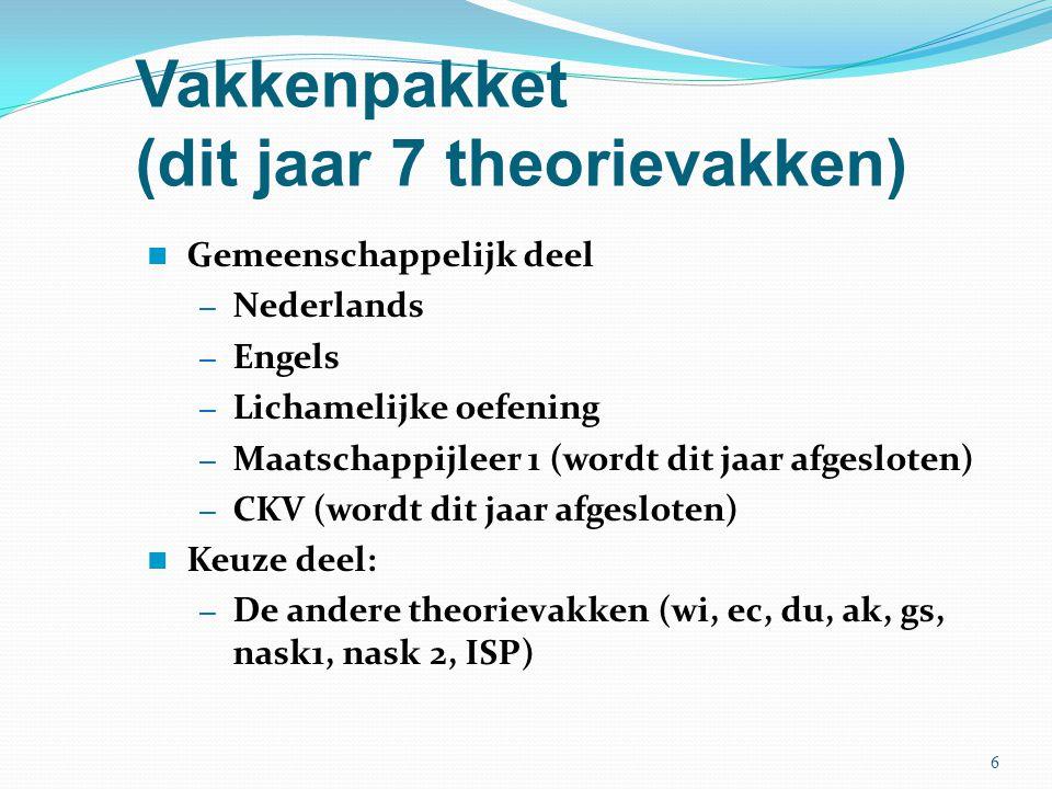 Vakkenpakket (dit jaar 7 theorievakken) Gemeenschappelijk deel – Nederlands – Engels – Lichamelijke oefening – Maatschappijleer 1 (wordt dit jaar afge
