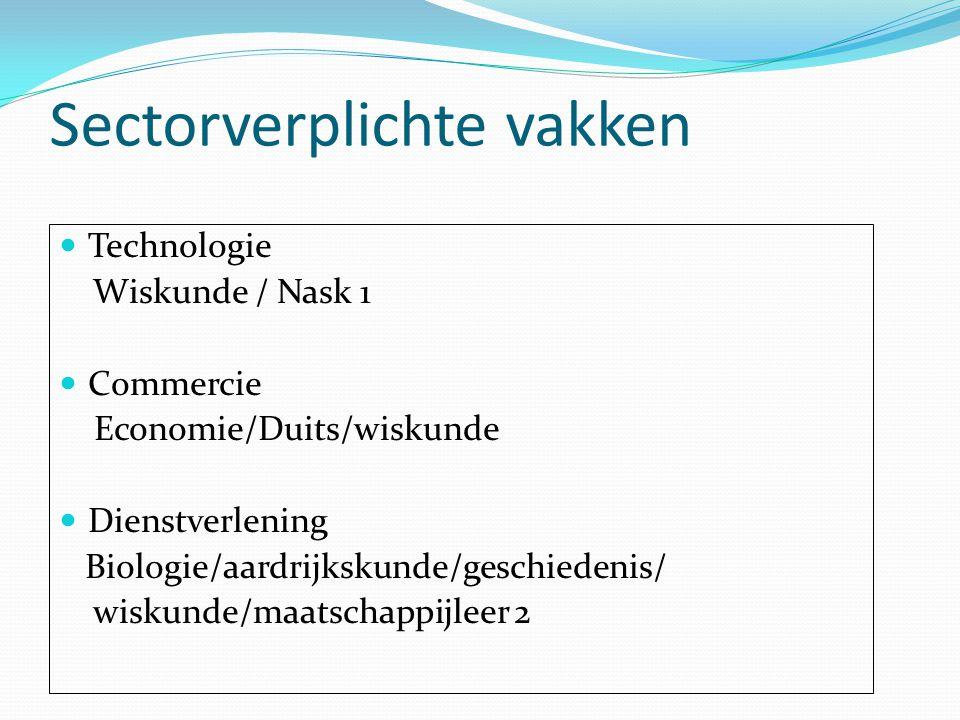 Sectorverplichte vakken Technologie Wiskunde / Nask 1 Commercie Economie/Duits/wiskunde Dienstverlening Biologie/aardrijkskunde/geschiedenis/ wiskunde