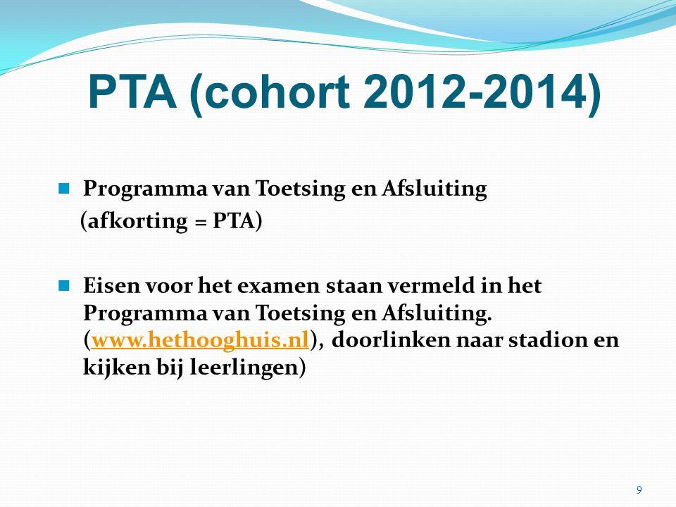PTA (cohort 2012-2014) Programma van Toetsing en Afsluiting (afkorting = PTA) Eisen voor het examen staan vermeld in het Programma van Toetsing en Afs