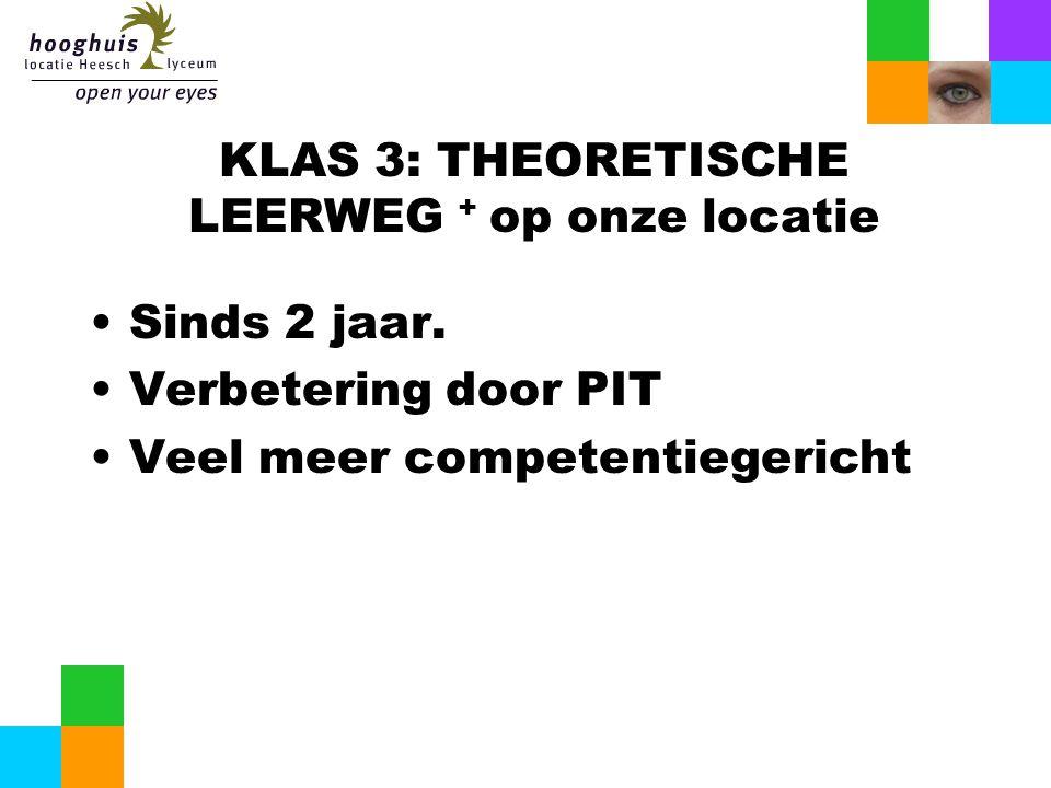 KLAS 3: THEORETISCHE LEERWEG + op onze locatie Sinds 2 jaar. Verbetering door PIT Veel meer competentiegericht