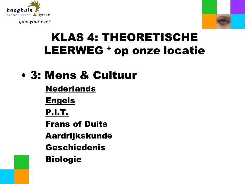 KLAS 4: THEORETISCHE LEERWEG + op onze locatie 3: Mens & Cultuur Nederlands Engels P.I.T. Frans of Duits Aardrijkskunde Geschiedenis Biologie