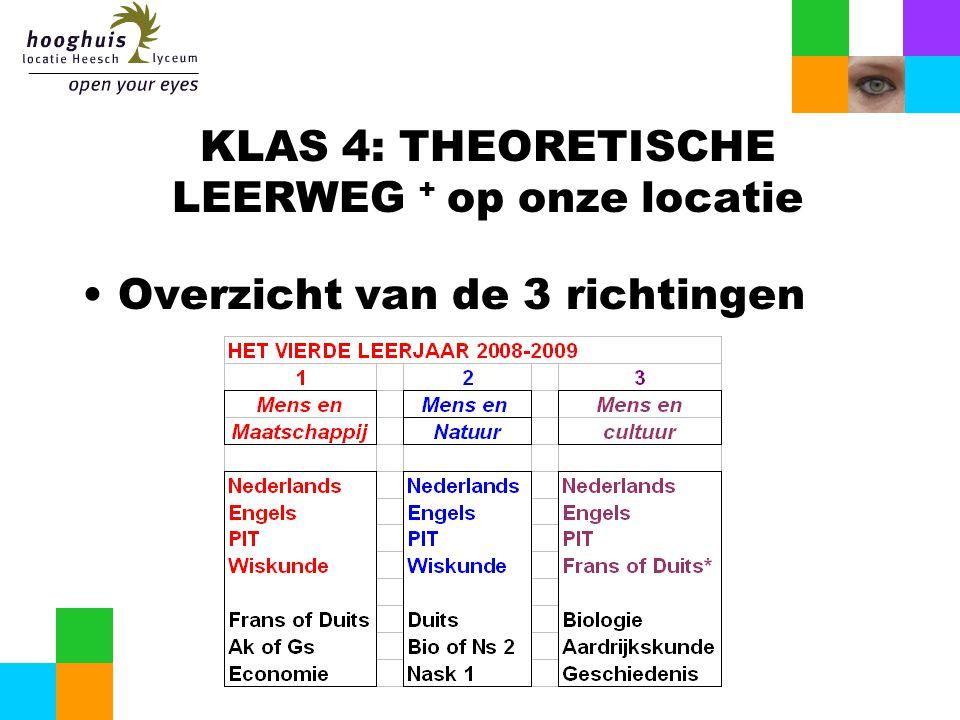 KLAS 4: THEORETISCHE LEERWEG + op onze locatie Overzicht van de 3 richtingen