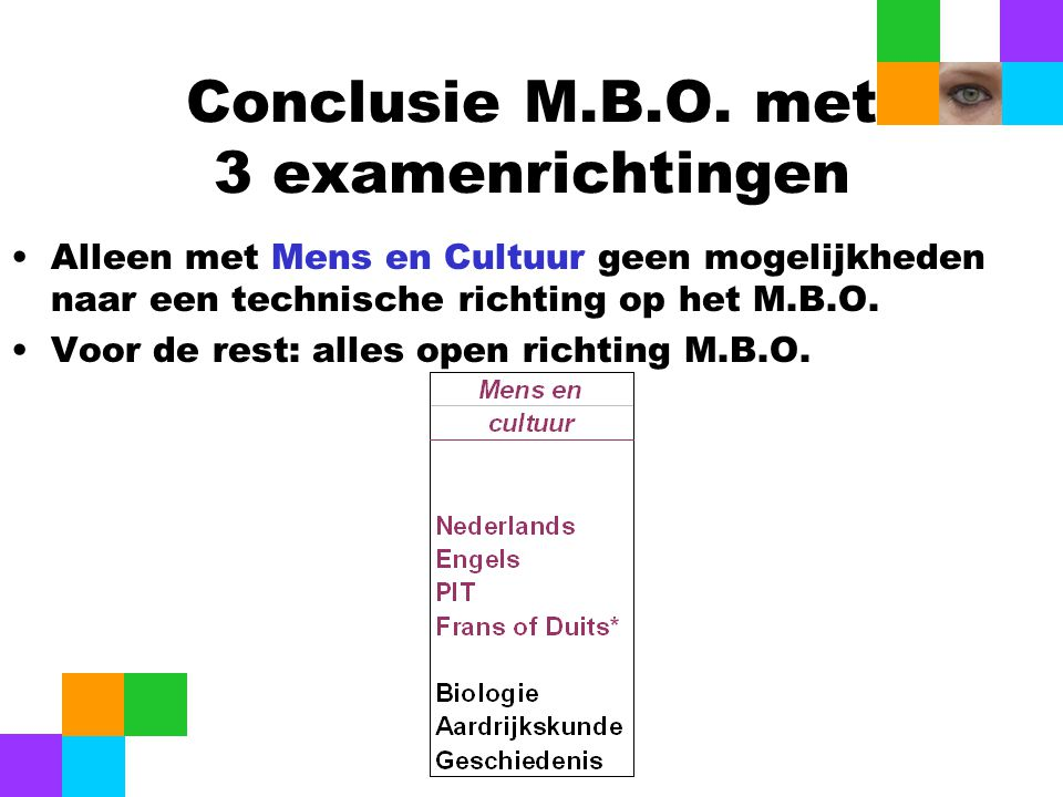 Conclusie M.B.O. met 3 examenrichtingen Alleen met Mens en Cultuur geen mogelijkheden naar een technische richting op het M.B.O. Voor de rest: alles o