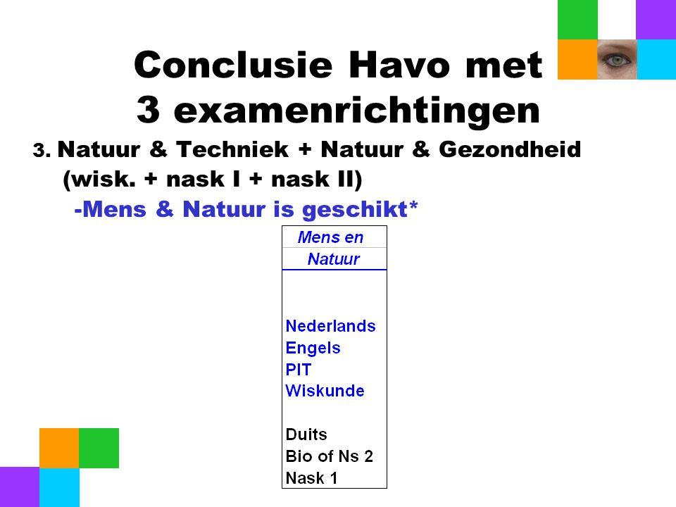 Conclusie Havo met 3 examenrichtingen 3. Natuur & Techniek + Natuur & Gezondheid (wisk. + nask I + nask II) -Mens & Natuur is geschikt*