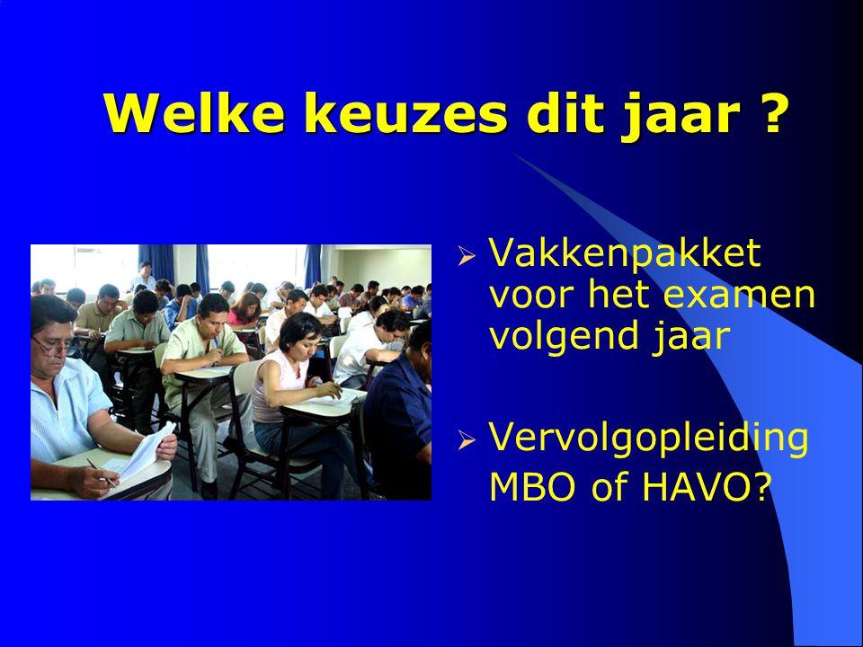 Welke keuzes dit jaar ?  Vakkenpakket voor het examen volgend jaar  Vervolgopleiding MBO of HAVO?