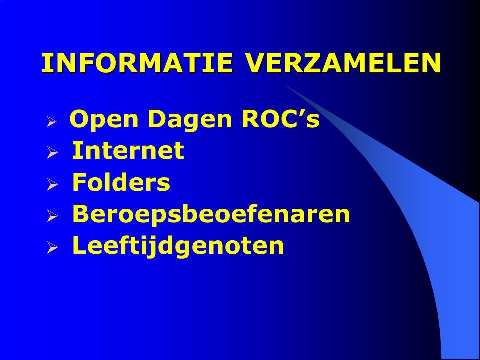 INFORMATIE VERZAMELEN  Open Dagen ROC's  Internet  Folders  Beroepsbeoefenaren  Leeftijdgenoten