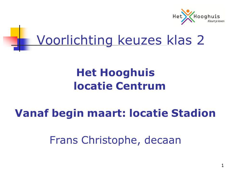 1 Voorlichting keuzes klas 2 Het Hooghuis locatie Centrum Vanaf begin maart: locatie Stadion Frans Christophe, decaan