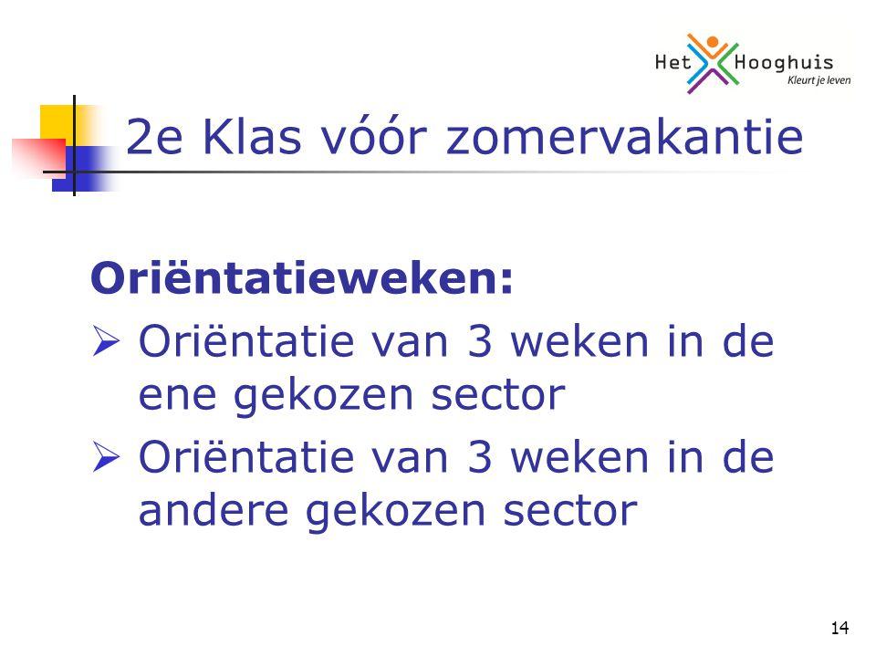 14 Oriëntatieweken:  Oriëntatie van 3 weken in de ene gekozen sector  Oriëntatie van 3 weken in de andere gekozen sector 2e Klas vóór zomervakantie