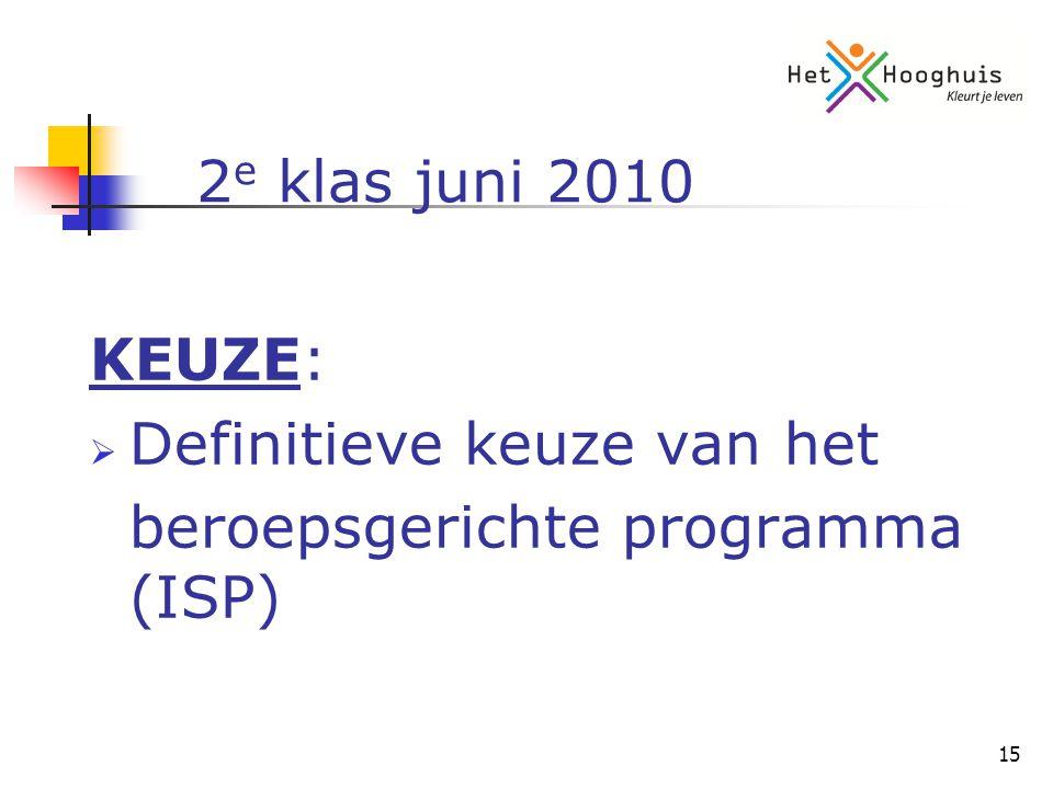 15 2 e klas juni 2010 KEUZE:  Definitieve keuze van het beroepsgerichte programma (ISP)