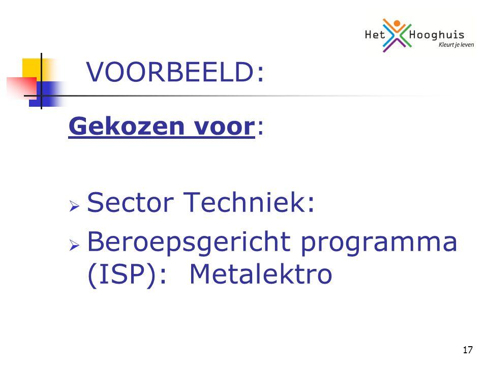 17 VOORBEELD: Gekozen voor:  Sector Techniek:  Beroepsgericht programma (ISP): Metalektro