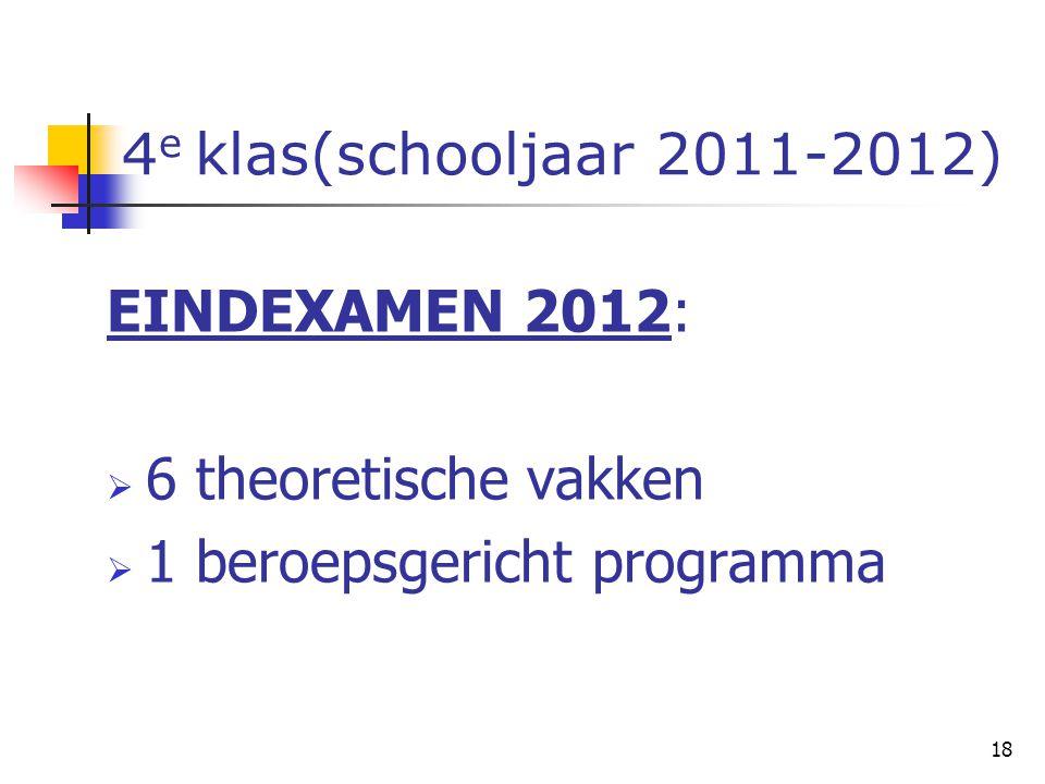 18 4 e klas(schooljaar 2011-2012) EINDEXAMEN 2012:  6 theoretische vakken  1 beroepsgericht programma