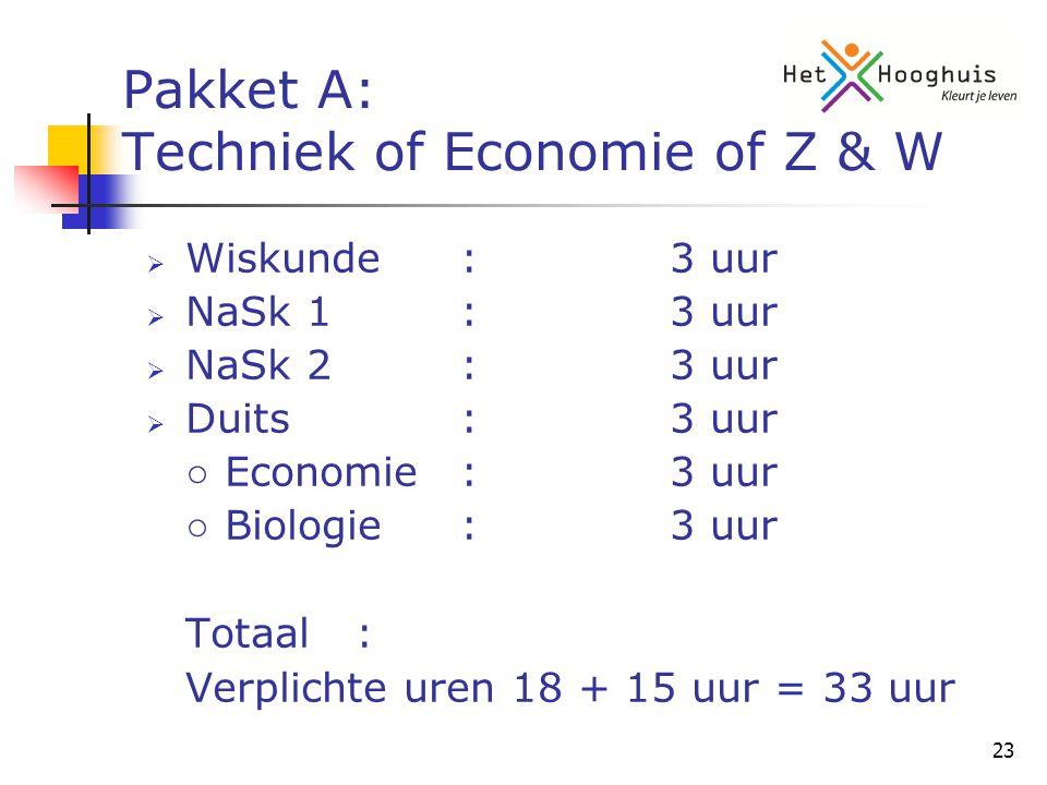 23 Pakket A: Techniek of Economie of Z & W  Wiskunde:3 uur  NaSk 1:3 uur  NaSk 2:3 uur  Duits:3 uur ○ Economie:3 uur ○ Biologie:3 uur Totaal: Verplichte uren 18 + 15 uur = 33 uur