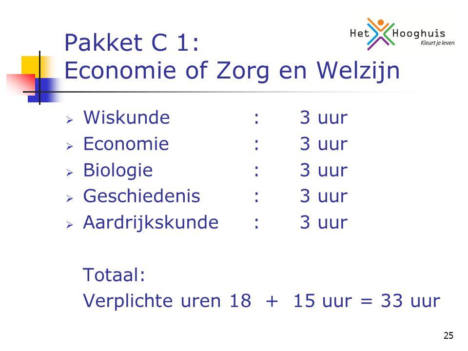 25 Pakket C 1: Economie of Zorg en Welzijn  Wiskunde:3 uur  Economie:3 uur  Biologie:3 uur  Geschiedenis:3 uur  Aardrijkskunde:3 uur Totaal: Verplichte uren 18 + 15 uur = 33 uur