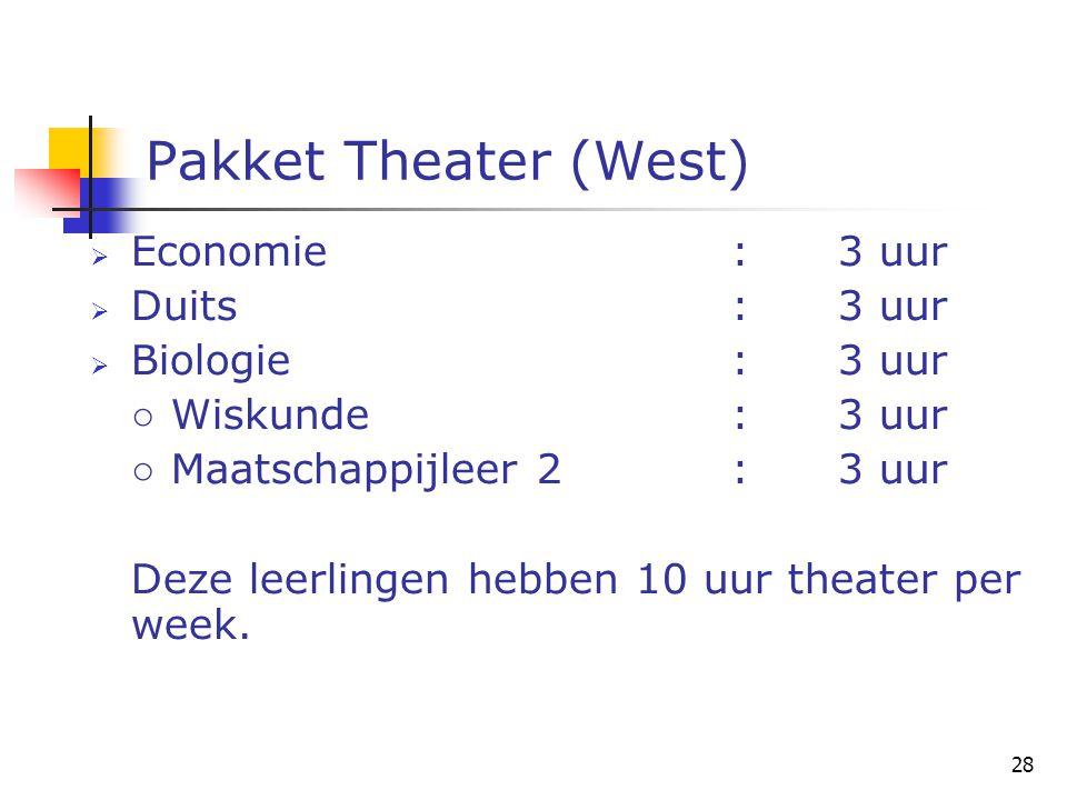 28 Pakket Theater (West)  Economie:3 uur  Duits:3 uur  Biologie:3 uur ○ Wiskunde:3 uur ○ Maatschappijleer 2:3 uur Deze leerlingen hebben 10 uur theater per week.