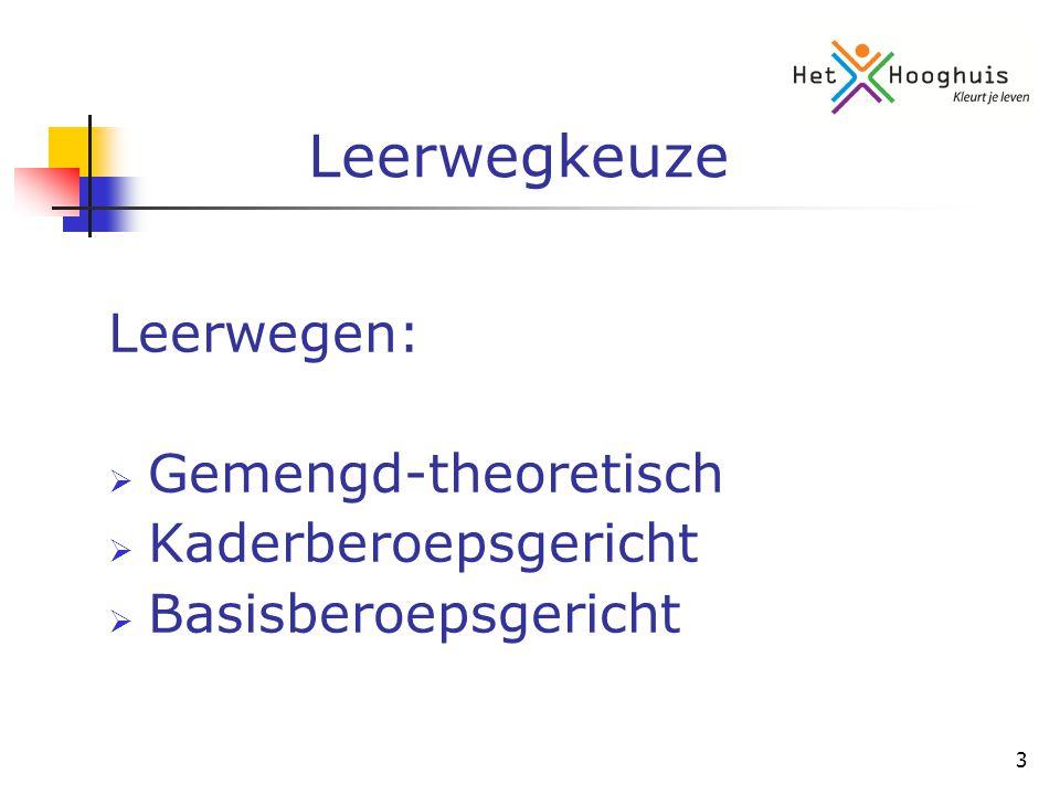 3 Leerwegkeuze Leerwegen:  Gemengd-theoretisch  Kaderberoepsgericht  Basisberoepsgericht