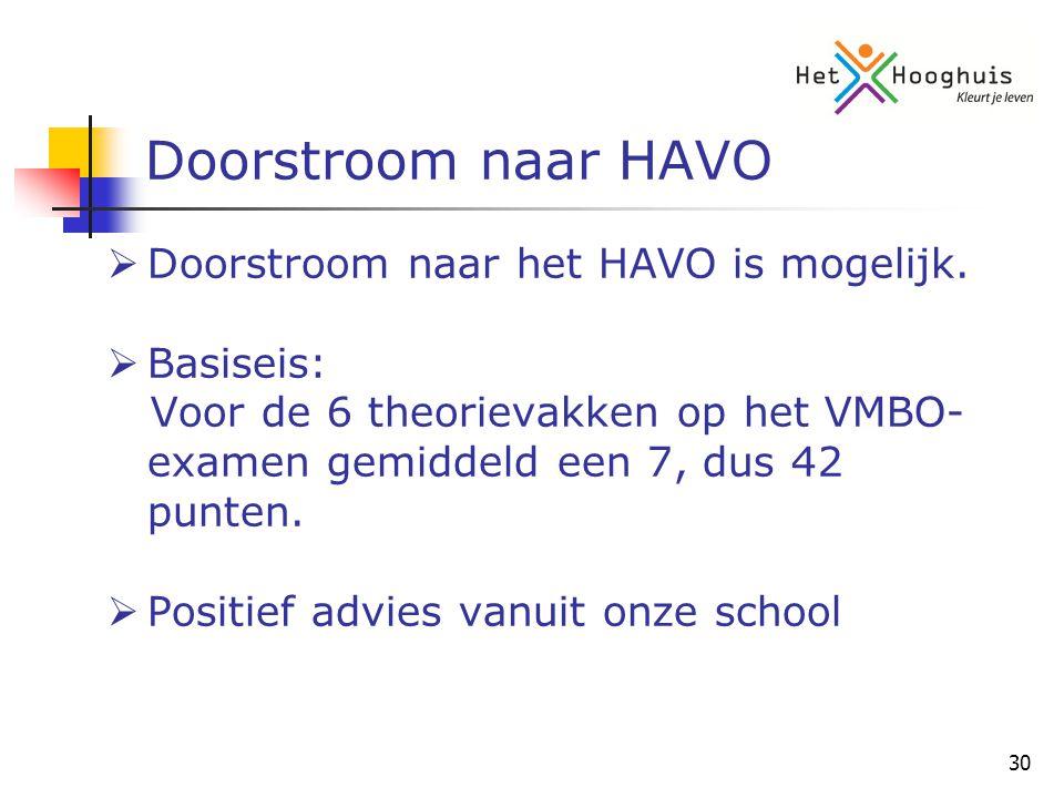 30 Doorstroom naar HAVO  Doorstroom naar het HAVO is mogelijk.