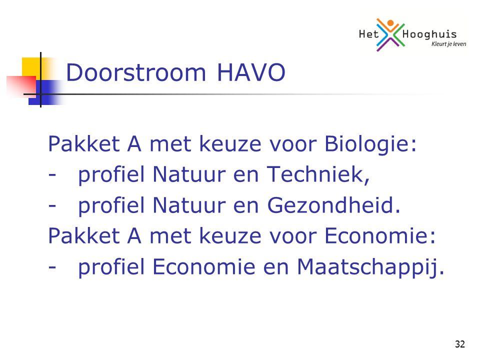 32 Doorstroom HAVO Pakket A met keuze voor Biologie: -profiel Natuur en Techniek, -profiel Natuur en Gezondheid.