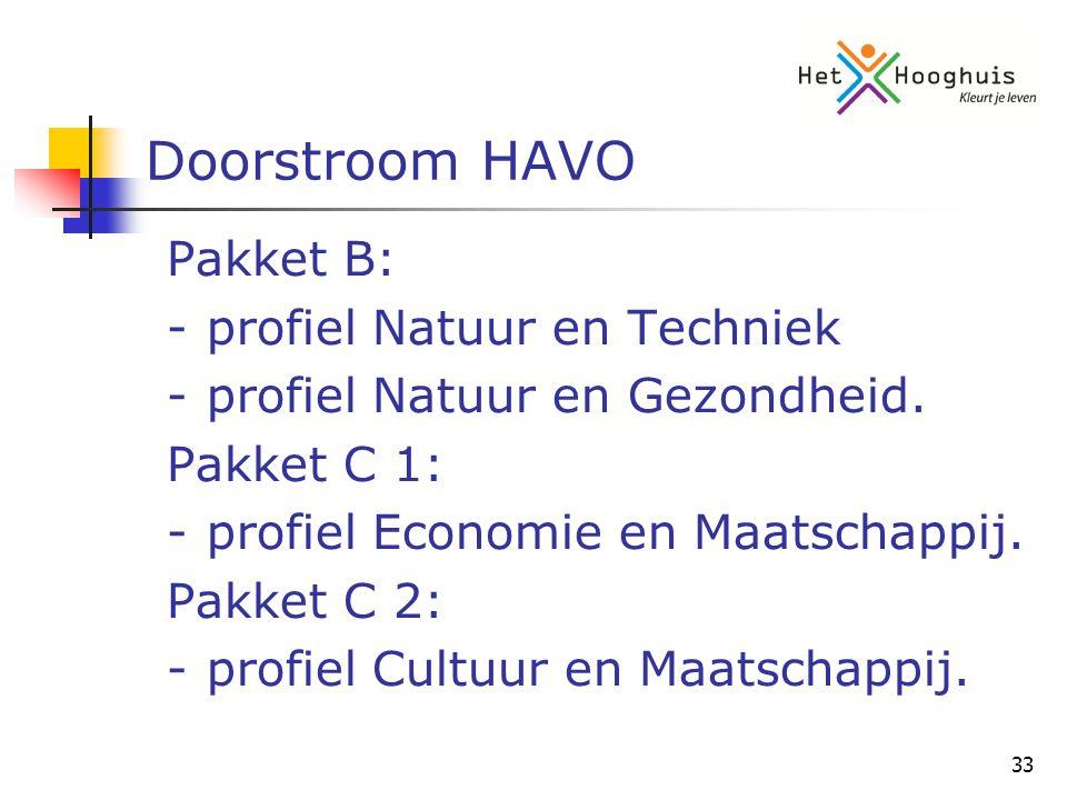 33 Doorstroom HAVO Pakket B: -profiel Natuur en Techniek -profiel Natuur en Gezondheid.