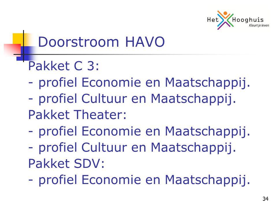 34 Doorstroom HAVO Pakket C 3: -profiel Economie en Maatschappij.